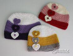 Lots of Love Heart Hat by MaryOriginals on Etsy Crochet Kids Hats, Crochet Cap, Crochet Baby Clothes, Crochet For Boys, Crochet Crafts, Crochet Projects, Knitted Hats, Crochet Hooded Scarf, Crochet Beanie