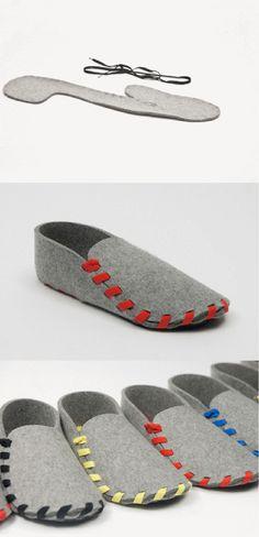 设计师Gaspard Tiné-Berès的产品Lasso鞋,由一片剪裁完好,5mm厚度的羊毛毡以及一条鞋带构成。鞋子需要顾客组装,先选好鞋带颜色,再把2D的几何羊毛毡切片通过鞋带来接缝,最后形成这双简易的拖鞋。Gaspard深信自主手装的这种行为有助于增加人与鞋子间的情感联系,在某种意义上也增强了对鞋子的所有权。(via@Style-Notes時装笔记)