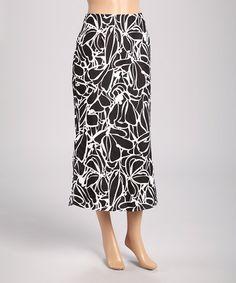 Look at this #zulilyfind! Black & White Floral Midi Skirt #zulilyfinds