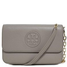 0a3ec1b19 Tory Burch Bag Bombe Mini TB Logo Leather Crossbody (French Gray) designer  handbags spring