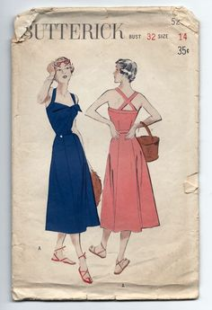 1950s Vintage Sewing Pattern Butterick 5264 Pin Up Sun Dress MISSING BAND PIECE