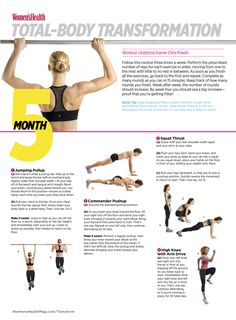 Total-Body Transformation: Month 5  This 15-minute workout routine is designed to help you lose weight, increase stamina, and get fit fast.