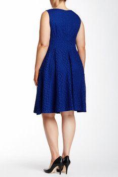 London Times Sleeveless Eyelet Dress (Plus Size)