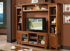 Acme 4 pc Dita light oak finish wood slim profile entertainment center wall unit with TV stand and side towers