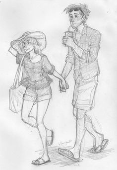 """""""Beach dwellers"""" by Burdge-bug. Love the expression. :)>this could totally be Cress and Thorne :D Cute Couple Drawings, Couple Sketch, Love Drawings, Couple Art, Drawing Sketches, Burdge Bug, Beach Drawing, Wow Art, Character Drawing"""