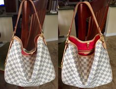 Louis Vuitton Delightful PM in Damier Azur. Love the pink lining that just pops! Fun, great-sized hobo bag!