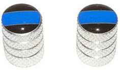 """Amazon.com : (2 Count) Cool and Custom """"Diamond Etching Blue Police Line Top with Easy Grip Texture"""" Tire Wheel Rim Air Valve Stem Dust Cap Seal Made of Genuine Anodized Aluminum Metal {Luminous Jaguar Silver and Black Colors - Hard Metal Internal Threads for Easy Application - Rust Proof - Fits For Most Cars, Trucks, SUV, RV, ATV, UTV, Motorcycle, Bicycles} : Sports & Outdoors"""