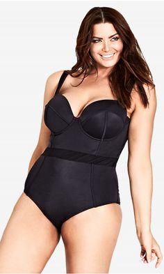 103618095fba Shop Women's Plus Size Mesh Panel Underwire 1 Piece   City Chic USA. Moda  CittadinaCostume InteroVestiti Di Dimensioni ParticolariDonne Con Taglie  FortiModa ...