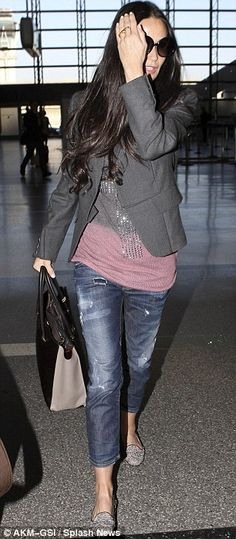 Demi Moore works the casual style in simple jeans and blazer as she jets out of LAX | Daily Mail Online