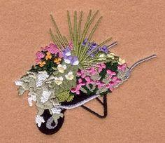 Wheelbarrow Garden - 4x4   What's New   Machine Embroidery Designs   SWAKembroidery.com Starbird Stock Designs