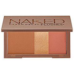 Urban Decay Naked Flushed in Strip - (deep bronze shimmer)/ highlighter (golden shimmer)/ blush (deep mauve) #sephora