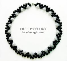 Free pattern for beaded necklace Gatsby U need: pearls 4 mm and 6 mm or pearls