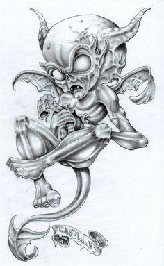 Grey Ink Gothic Alien Demon Tattoo Design By Markfellows Demon Drawings, Dark Art Drawings, Tattoo Design Drawings, Skull Tattoo Design, Tattoo Designs, Evil Skull Tattoo, Evil Tattoos, Demon Tattoo, Skull Tattoos