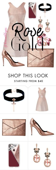 """""""Rose Gold"""" by bmcathleyas ❤ liked on Polyvore featuring VSA, Miss Selfridge, Rebecca Minkoff, Alexander Wang, Casetify, Effy Jewelry and Gucci"""