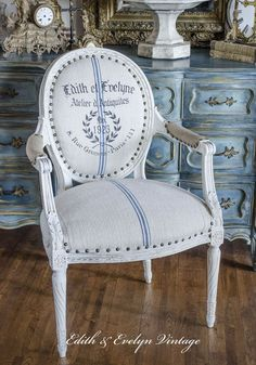 Stenciled and Painted French Style Furniture a french chair a grain sack and a stencil, painted furniture, repurposing upcycling, reupholster Steel Furniture, French Furniture, Paint Furniture, Furniture Makeover, Furniture Stores, Dining Chair Makeover, Furniture Cleaning, Furniture Nyc, Furniture Dolly