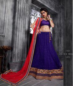 Beautiful Embroidered Pattern #Purple Blue Soft Net #Lehenga