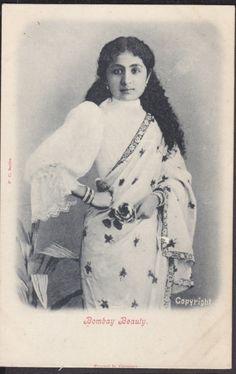 Post Card of a Beautiful Woman - Bombay (Mumbai) - Old Indian Photos