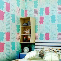 Sala de papel pintado de los niños encantadores. Cheerhuzz. com  https://cheerhuzz.com/collections/wall-paper/products/non-woven-bear-wallpaper-wp36?variant=5116080772