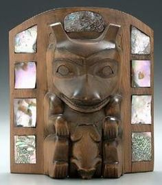 Mask; Northwest Coast, Mother of Pearl & Abalone Inlay, 9 inch.