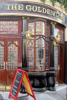The Golden Lion. This was a pub I saw in London. Oil on canvas, 20x 30 cm