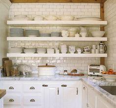 white kitchen cabinets, marble countertops, subway tiles backsplash, open shelving // #white #kitchen