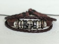 161 Men bracelet Skull bracelet Sexy man jewelry Brown leather bracelet Unique boy gift Hip-hop and punk style - jewelry mens chains, unique mens rings jewelry, white gold mens jewelry Braided Bracelets, Metal Bracelets, Bracelets For Men, Fashion Bracelets, Jewelry Bracelets, Fashion Jewelry, Skull Bracelet, Bracelet Cuir, Bracelet Men