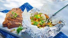 Kasvisnyytit ja grillipihvit Steak, Good Food, Dinner, Kitchen, Recipes, Koti, Dining, Cooking, Food Dinners