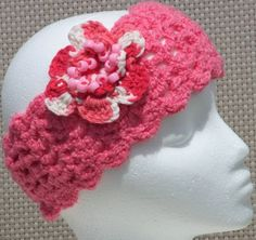 COTTON SUMMER HEADBAND CANDY PINK | AndreaDesigns - Crochet on ArtFire