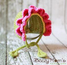PDF CROCHET PATTERN 037 - Flower bonnet. $4.50, via Etsy.