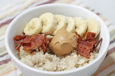 The Elvis: To your favorite oatmeal, add a tablespoon of Peanut Butter, 1/2 of a sliced banana and two crispy strips of bacon. #BRMOatmeal