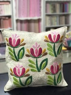swirling leaves pillow cover for Autumn- rust, green, gold, burgundy and yellow appliqued leaves Cushion Embroidery, Crewel Embroidery Kits, Flower Embroidery Designs, Creative Embroidery, Hand Embroidery Patterns, Ribbon Embroidery, Embroidery Needles, Cushion Cover Designs, Mexican Embroidery