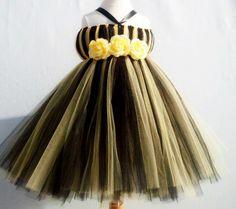 Baby Tutu, Tutu- Tutu dress- Tutu Halter Dress- Costume- Black And Yellow Tutu- Bumblebee Costume- Available In Size 0-24 Months. $35.00, via Etsy.