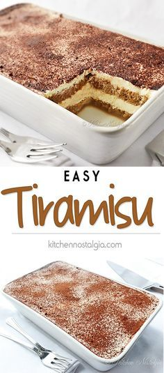 Easy Tiramisu Recipe - easy 5-minutes, no-bake tiramisu recipe - kitchennostalgia.com