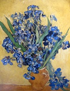 """Vase of Irises Against a Yellow Background"" 1890 by Vincent van Gogh. While van Gogh painted still lifes throughout his career, this piece was one of the only still lifes painted by van Gogh during his stay at the Saint Remy asylum. Art Van, Van Gogh Art, Vincent Van Gogh, Monet, Van Gogh Museum, Flores Van Gogh, Van Gogh Pinturas, Oil On Canvas, Canvas Art"