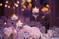 #centerpiece #low #lowcenterpiece #hydrangea #pink #pinkhydrangea #floatingcandles #candles #laurelwooddesigns