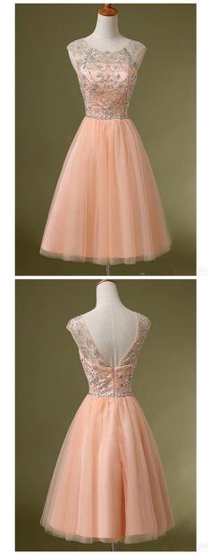 Peach Tulle Beaded Short Cute homecoming prom dresses The Peach Tulle Beaded homecoming prom dresses are fully lined, 8 bones in the bodice, chest pad in the bust, lace up back or zipper back are all available, total 126 colors are available. This dress could be custom made, there are no extra cost to do custom size and color. Description 1, Material: Tulle, sequins, elastic satin, pongee. 2, Color: picture color or other colors, there are 126 colors are available, please contact us for more…