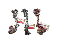 """Knotted Dog Rope Toy, 72 - Dogs love to chew on rope and they love bones. Both are combined in this fun toy featuring a cotton rope knotted at both ends. Colorful design features a myriad of braided colors. Measures approximately 8.6"""" long. Comes in assorted colors. Comes loose with a hang tag.-Colors: brown,white,green,blue,red,pink. Material: cotton. Weight: 0.0597/unit"""
