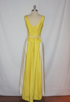 Vintage 1960s Wedding Dress Yellow and White by VintageStylez, $84.00