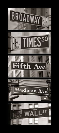 NYC Bucket List: New York Street Signs Must go to: Financial District Little Italy Chinatown Central Park Times Square statue of liberty tip. Rue New York, Ville New York, A New York Minute, Voyage New York, Empire State Of Mind, I Love Nyc, Dream City, My Dream, City That Never Sleeps