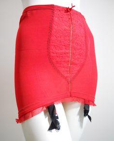 1940s lipstick red Jantzen girdle, Dorothea's Closet Vintage