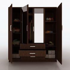 17 Bedroom Wardrobe Design Ideas That Are Trending Today - 4 Door Wardrobe, Wooden Wardrobe, Wardrobe Furniture, Closet Doors, Luxury Wardrobe, Wardrobe Design Bedroom, Wooden Almirah, Almirah Designs, Armoire