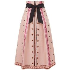 Temperley London Poppy Field Skirt ($1,495) ❤ liked on Polyvore featuring skirts, red, red a line skirt, mid length skirts, red knee length skirt, a-line skirt and red skirt