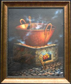 """El Cazo (the cauldron), 2001  Oil on canvas Canvas size 16""""x20""""Golden antique frame 20""""x 24 """"   $450.00  Mystic incantations, sacred rituals, curious tales of good and evil ... almost always happened around a copper cauldron. At night, deep in the unreachable parts of a forest, the glow of the fire is the only way to guide your steps ... or maybe is the aroma of an exotic dish with herbs and spices .... claupureco@hotmail.com"""