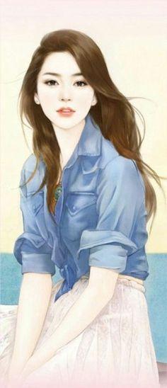 Beautiful Girl Drawing, Cute Girl Drawing, Beautiful Fantasy Art, Beautiful Anime Girl, Woman Drawing, Cartoon Girl Images, Cute Cartoon Girl, Girly Images, Girly Pictures