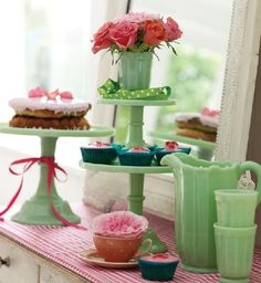Vintage jadeite with cupcakes & goodies