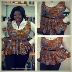 Ankara Peplum top using McCall's 6754 pattern. #mimodesigns ~African fashion, Ankara, kitenge, African women dresses, African prints, African men's fashion, Nigerian style, Ghanaian fashion ~DKK