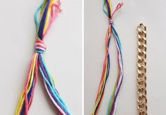 A Colorful Double-Wrap Bracelet DIY . Free tutorial with pictures on how to make a chain bracelet in under 30 minutes by braiding and jewelrymaking with fastener, pliers, and scissors. in the Jewelry section Difficulty: Easy. Beach Jewelry, Diy Jewelry, Handmade Jewelry, Jewelry Ideas, Diy Leather Bracelet, Diy Braids, Chain Belts, Braided Bracelets, Crochet Accessories