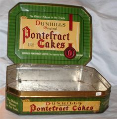 Vintage Antique Pontefract Cakes Licorice Box Hinged Lid UK Candy Container Lg.