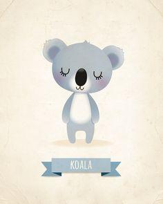 Nursery art print Koala print nursery art kids by IreneGoughPrints