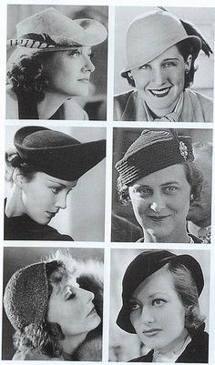 """Hats, """"Greta Garbo was the Hollywood star who had the biggest influence on hat trends. She started a trend for berets by wearing them in The Kiss she wore jewelled skullcaps in Mata Hari. Retro Mode, Mode Vintage, Vintage Style, 1930s Fashion, Vintage Fashion, Fashion Hats, Victorian Fashion, Fashion Watches, Fashion Fashion"""